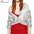 Fashion new female bomber jacket metallic coat silver solid autumn short basic jackets coats for women 2016 hot sale outwear