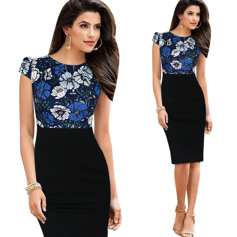 Contrast Color Summer Style Women O-neck Pencil Dress Short Sleeve Womens Bodycon Formal Party Dress For Special Occasion