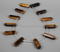 12pcs Strand Natural Yellow Tiger Eye Hexagon Beads Points Necklace Bulk Top Drilled Faceted Bullet Shape
