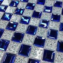 Mavi 5 kenar eğimli kristal elmas ayna cam mozaik fayans SPA showroom KTV ekran dolabı DIY süslemeleri duvar Sticker