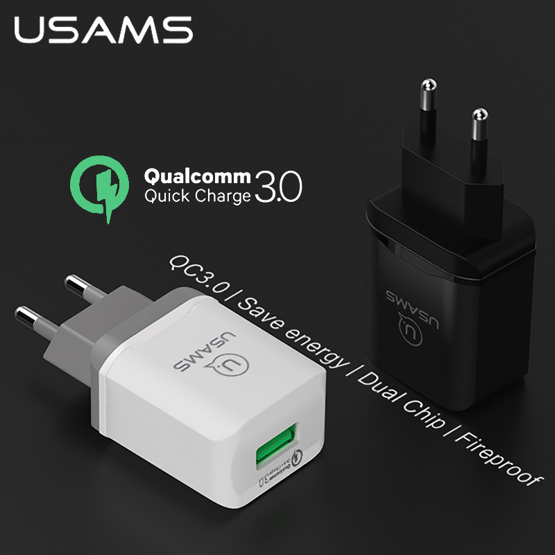 USAMS QC3.0 USB EU Charger Plug 3A Universal Adapter Smart Mobile Phone Travel Charger For iPhone X Samsung S9 huawei Xiaomi HTC