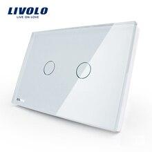 LIVOLO США стандартный настенный сенсорный светильник переключатель, AC 110~ 250 В, слоновая кость, серо-синий Стекло Панель, 2-gang 1way, VL-C302-81