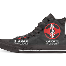 Kyokushin карате символ и кандзи белый текст Повседневная Высокая парусиновая обувь кроссовки для дропшиппинг