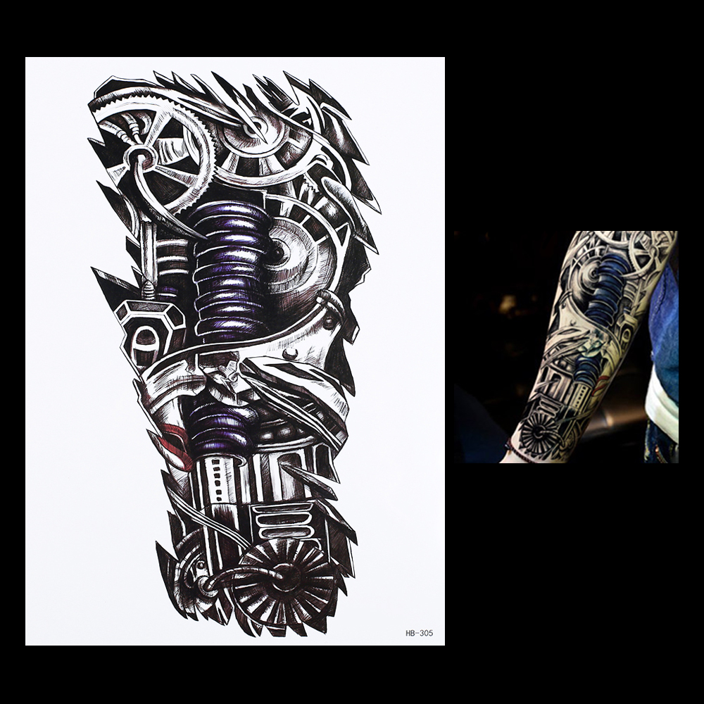 647a29c54 1pc Waterproof Temporary Tattoo Sticker 2019 High Quality 3D Robot Machine  Pattern HB305 Women Men Arm