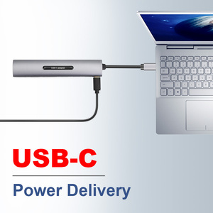 Image 4 - USB C Dock תחנת thunderbolt 3 סוג c כדי HDMI VGA USB TF SD כרטיס עם 3.5 AUX אודיו שקע HD ממיר מתאם עבור Macbook pro