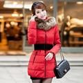 2015 gran cuello de piel wadded chaqueta mujeres de medio largo delgado abajo cubre la chaqueta de algodón acolchado otoño invierno mujeres de talla grande
