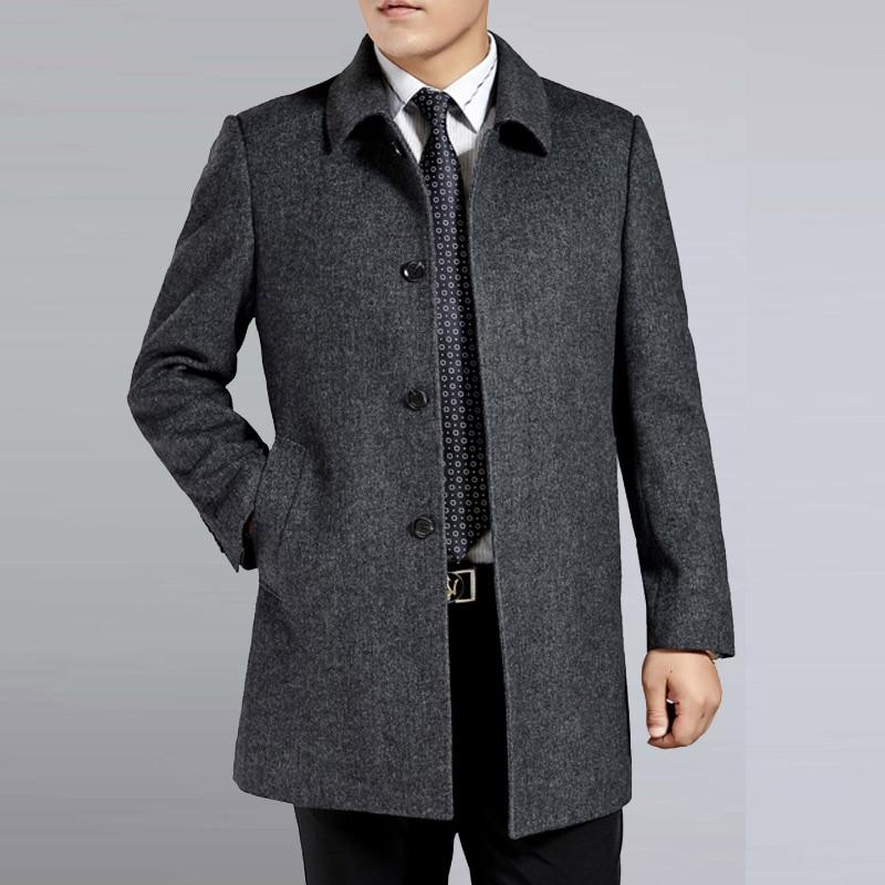 Calças de caxemira dos homens de meia idade casaco de lã homens trincheira masculino gola virada para baixo único breasted lã outerwear 2018 outono nova inverno