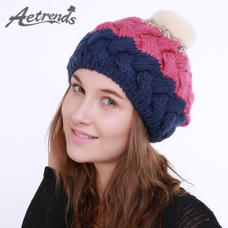 [AETRENDS] 2017 Winter Beanie Hats for Women Warm Knitted Female Caps Beanies Pompom with Top Ball Z-5987 2016 new beautiful colorful ball warm winter beanies women caps casual sweet knitted hats for women outdoor travel free shipping