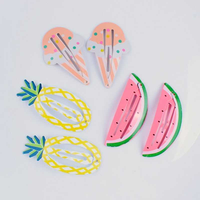2pcs Cute Girls Handmade Character Snap Hair Clip Kawaii Printing Hair Clips Fruit Barrettes Girl Accessories 10 Styles!!!