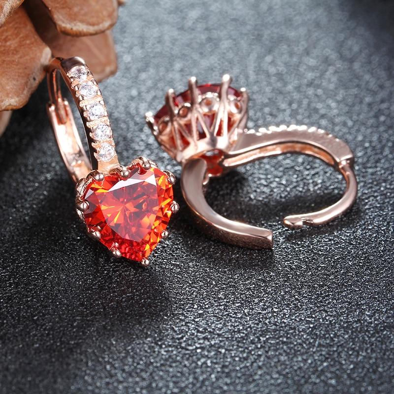 Kadın küpe aşk kalp saplama küpe kırmızı kristal CZ ince 925 - Kostüm mücevherat - Fotoğraf 5