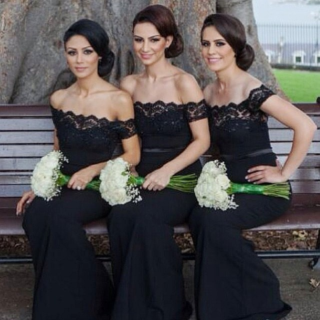 Free Shipping Black Long Lace Elegant Mermaid Bridesmaid Dresses