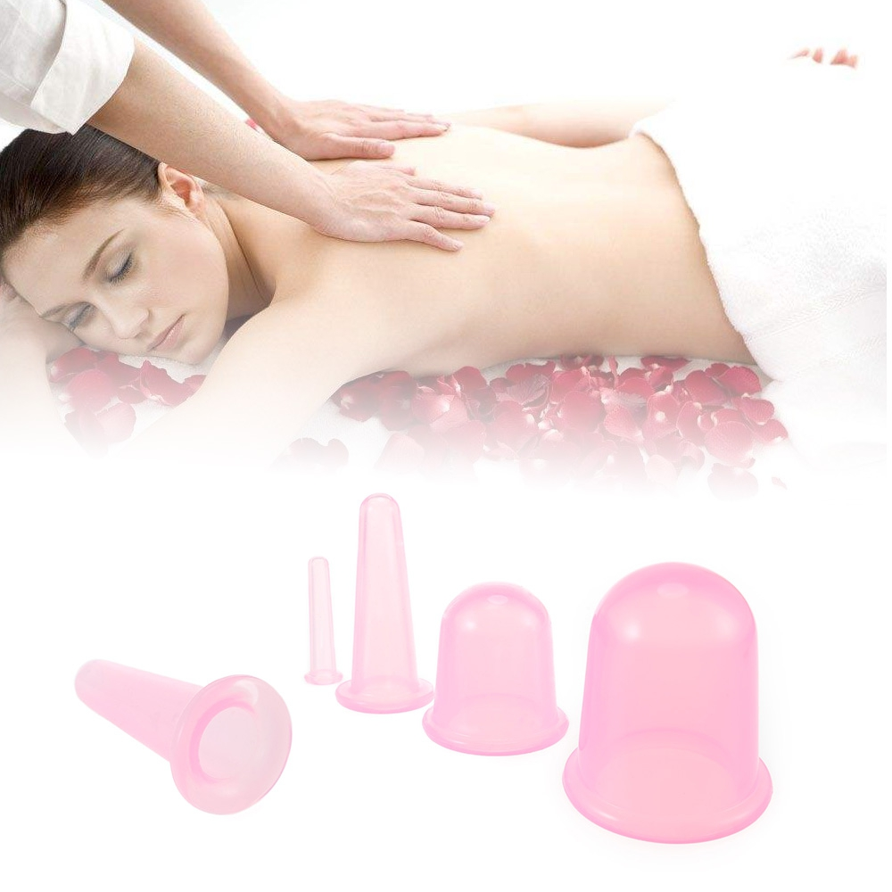 4pc Family Body Massage Helper Anti Cellulite Vacuum Silicone Cupping Cups Brand new and High quality