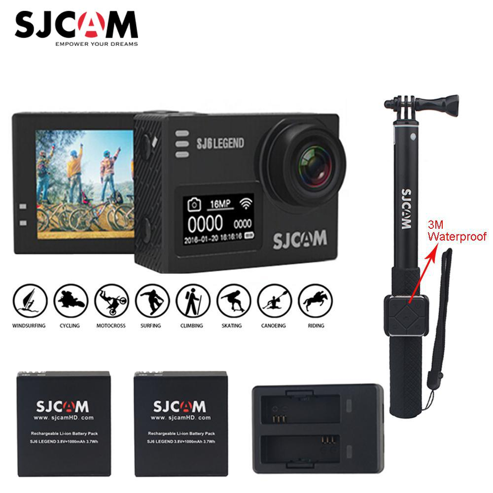 Original SJCAM SJ6 LEGEND 4K 2.0 Touch Screen Sports Action Camera Mini DVR+2 Battery+Dual Charger+3M Waterproof Remote Monopod