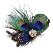 Заколка для волос с милыми перьями павлина