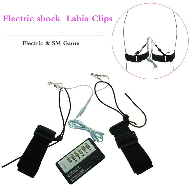 Electric Shock Labia Clips With Thigh Cuff