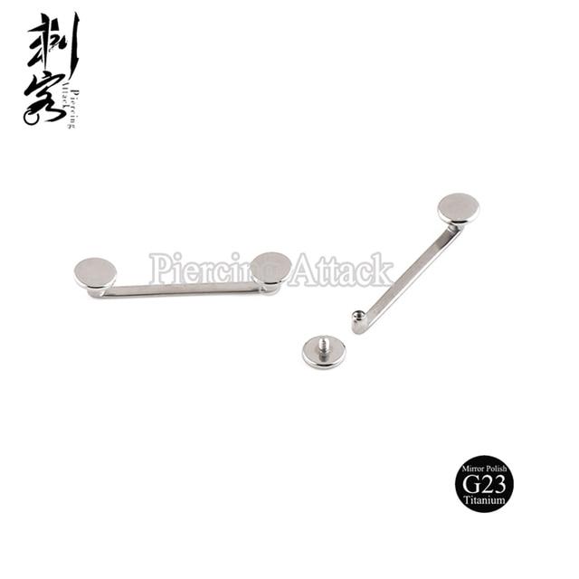 G23 Titanium Inwendige Schroefdraad Platte Surfacel Barbell Surface Piercing Sieraden 1.6*18*5Mm Lot Van 5Pcs lichaam Sieraden