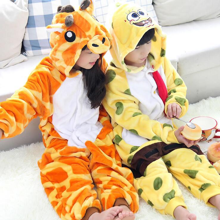 Unisex Kids Onesie Kigurumi Animal Pajamas Pyjama Anime Cosplay Costume Onepiece Fancy Dress Sleepwear Giraffe Cartoon Dresses