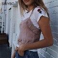 SIBYBO Crop Top de Encaje Mujeres Floral Vintage Patchowrk Camisola 2017 verano Sexy Satin Negro Rosa Blusa Del Partido Del Club Casual Tank Tops