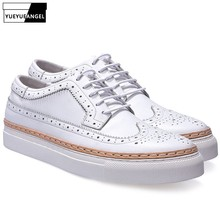 New 2019 Spring Autumn Thick Platform Casual Man Shoes Genuine Leather White Blu