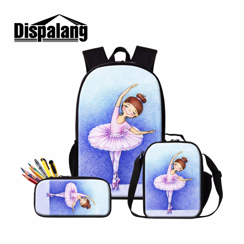 Dispalang Cute Ballet Girls School Backpack and Lunch Pouch Set Pretty BookBag Insulated Cooler Bag for Children Pencil Case Kid