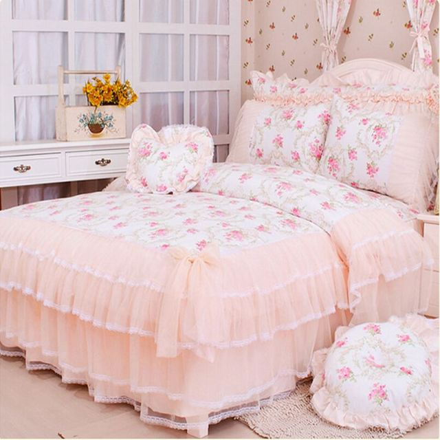 Luxury Lace Bedspread Princess Comforter Quilt Duvet Cover King Queen 4pcs Flowers Bed Skirts