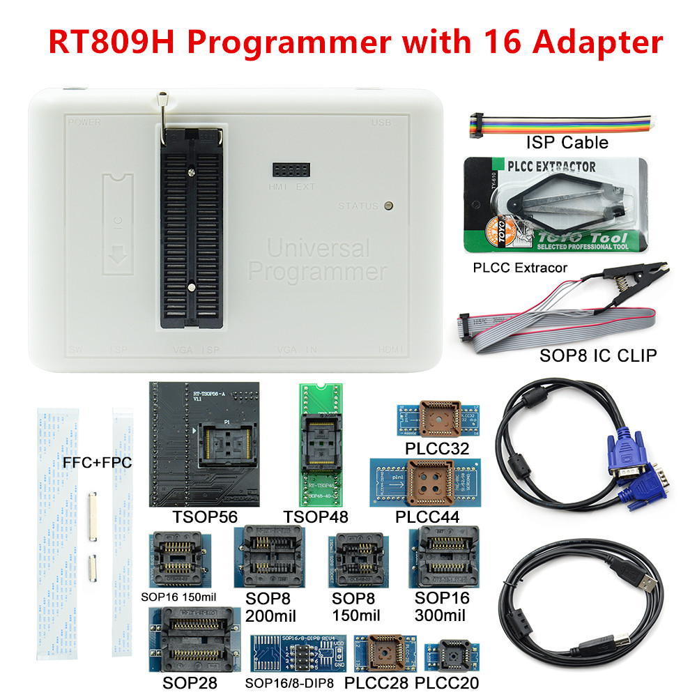 Sinstar Newest Software ORIGINAL RT809H 16 Adapters EMMC Nand FLASH Extremely fast universal Programmer