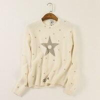 100% кашемировый свитер Для женщин золото Вышивка Твердые О Средства ухода за кожей шеи одежда с длинным рукавом 3 цвета женские Пуловеры для