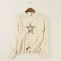 100% Cashmere Sweater Women Gold Embroidery Solid O Neck Long Sleeves 3 Colors Ladies Pullovers Knitwear Autumn 2017 New Fashion