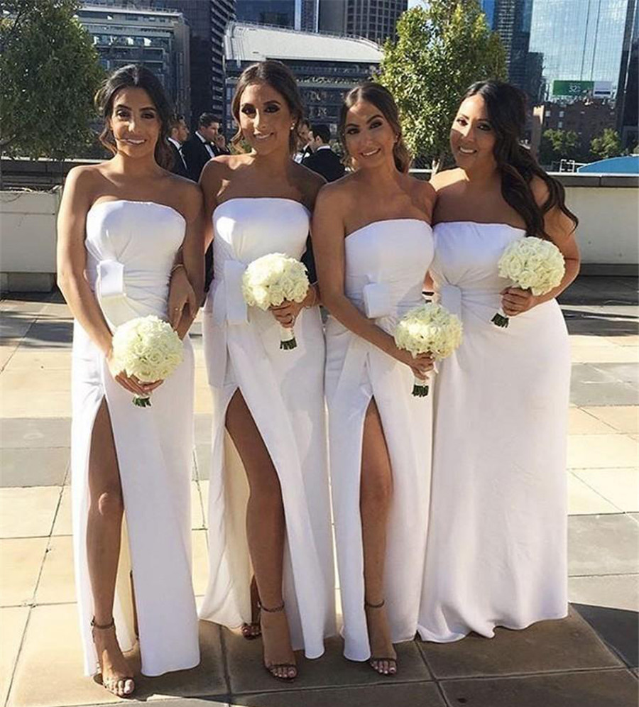 Charming White Long   Bridesmaid     Dresses   Strapless Sleeveless High Split Sexy Wedding Party Gowns 2019 Cheap Maid Of Honor   Dress