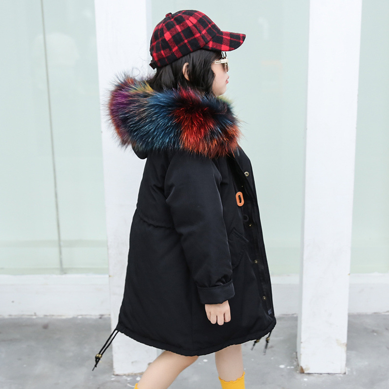 Children Winter Natural Big Real Fur Hooded Thick Warm White Duck Down Jackets Boy Girls Loose Long Pockets Thick Down Coats 2018 new winter thick women winter white down jackets natural fur hooded women parkas coats