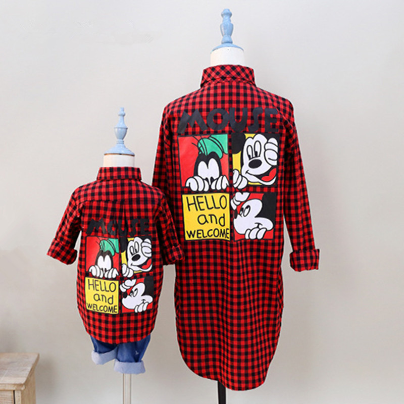 Teenster Matching Outfits Cartoon Mickey Printed Mommy And Me Clothes Plaid Blouse Shirt Family Look Mother Daughter Tops