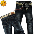 Novo 2016 Moda Homens Heterossexuais Casual Slim Fit Cintura Oriente Azul Lavagem Tordos Design Clássico Denim Jeans Wear Bottoms 28-38