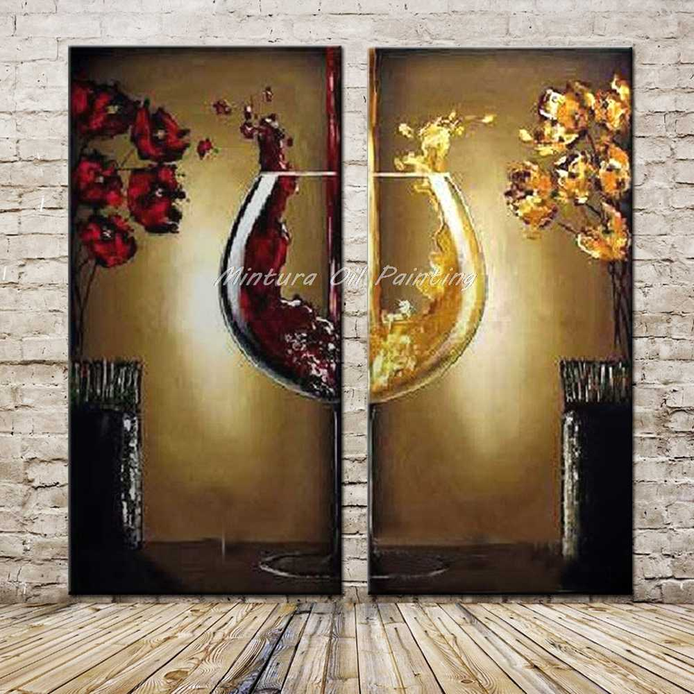 Arthyx Art 2Pcs/Set Hand Painted Abstract Red Wine Glass Oil Paintings on Canvas Modern Wall Pictures For Living Room Wall Decor