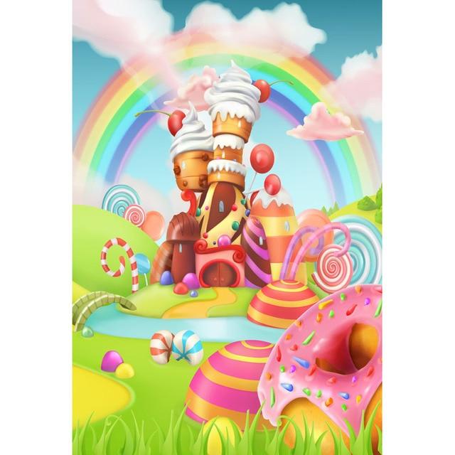 seamless vinyl photography background cartoon candy house rainbow