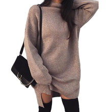 fc6dd22a2fa Plus Size Dress Womens Long Sleeve Knit Turtleneck Autumn Winter Jumper Top  Loose Casual Solid Gray Sweater Dress Hot Sale 2018