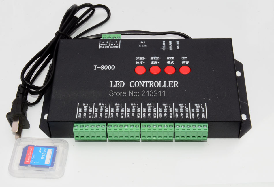 AA 1PC T-8000 T8000 led pixel module controller SD card WS2801,WS2811,6803,8806 IC max control 8192 pixels k 8000g sd card led pixel controller off line spi signal output controlling 8192 pixels can choose ic type by using the button