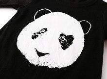 cotton black long sleeve panda pattern newborn neutral baby clothes