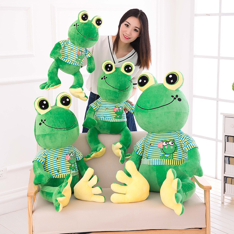 Gaint Kawaii Frog Soft Stuffed Baby Pillow Plush Toys Doll Creative Birthday Gifts for kids ucanaan plush stuffed toys for children kawaii soft 6 colors rabbit bear best birthday gifts for friends doll reborn brinquedos