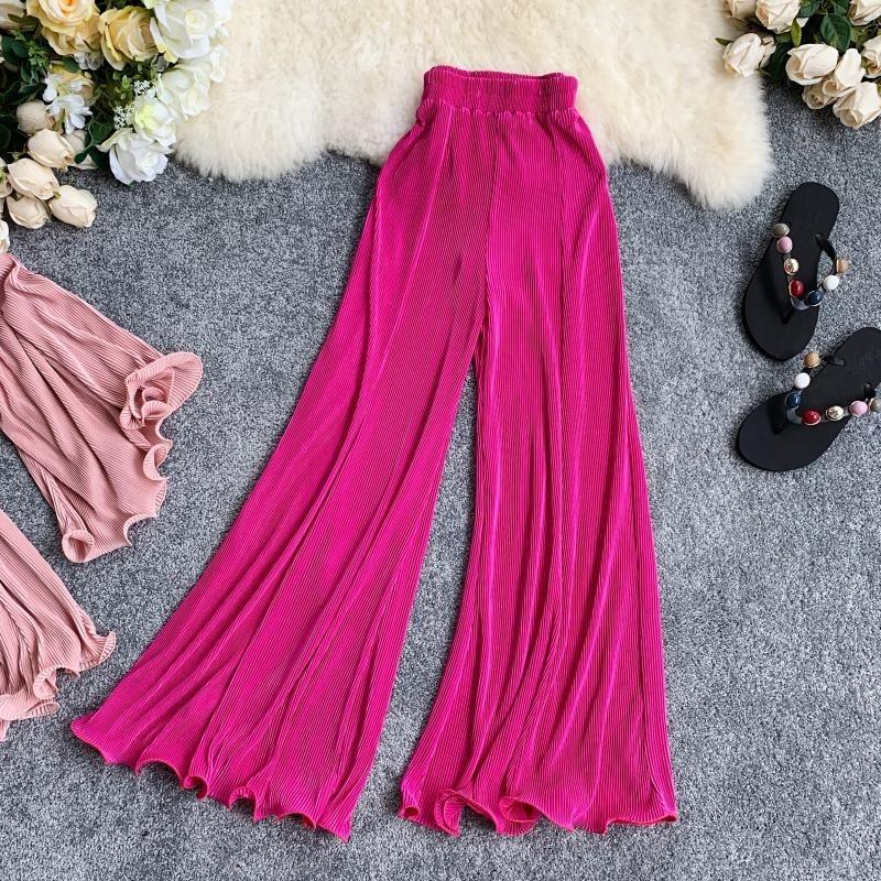 Hot Fashion Retro   Wide     Leg     Pants   Women Casual Summer Elastic Waist Solid Loose   Pants   Trousers High Waist Flare   Pants