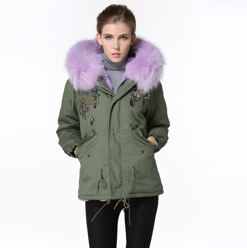 Winter Purple Young girl First choose Fur Parka Snake Beading Big collar Short Young Lady Jacket