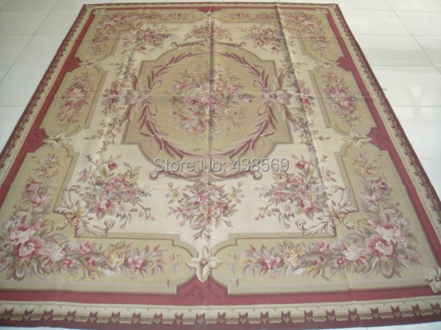 Free Shipping 9 X12 French Aubusson Woolen Rugs Red Beige Shabby Chic Carpets
