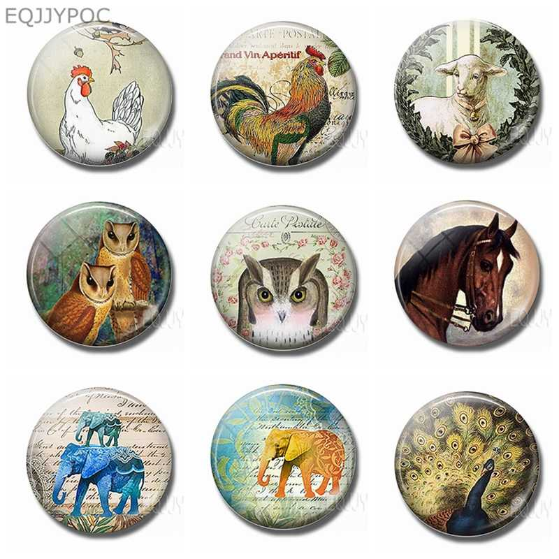 Cock Owl Sheep Elephant Peacock Horse Fridge Magnets for Kids 30MM Glass Round Magnetic Stickers Animal Decorative Refrigerator