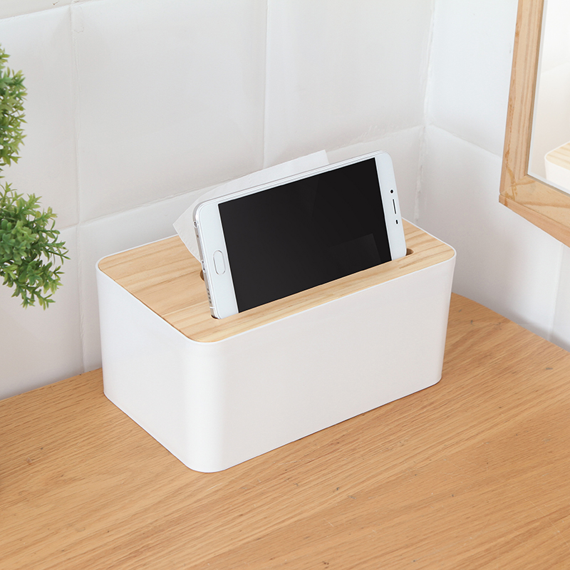 050 Wooden Tissue Box Container Towel Napkin Tissue Holder Paper Dispenser Fashion Tissue Case With mobile phone card slot in Tissue Boxes from Home Garden