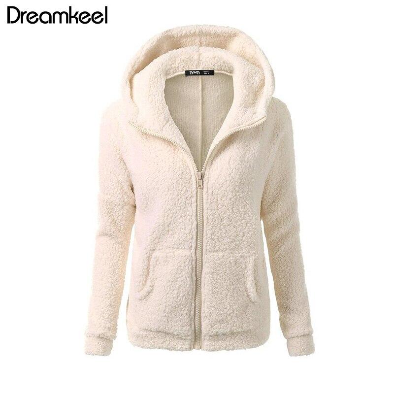 HTB1VJQlaOLrK1Rjy1zdq6ynnpXaF Solid Color Coat Women Thicken Soft Fleece Fashion Casual Outwear Coat Winter Autumn Warm Jacket Hooded Zipper Overcoat Female Y