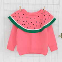 a51d707968d99 Nouveau 2019 bébé filles pull coton enfant en bas âge bébé filles pull  pastèque enfants manteau enfants tricoté vêtements d exté.