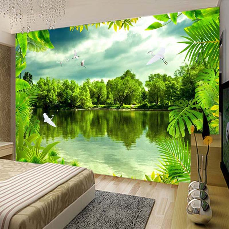 Custom 3D Photo Wallpaper Tropical Rain Forest Green Natural Landscape Photography Background Decor Wall Painting Large Murals swing sloth explore the rain forest