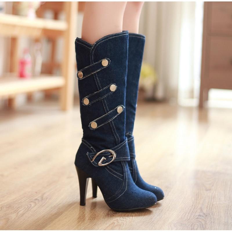 Новое поступление, женские сапоги модные джинсовые сапоги до колена с пряжкой высокие сапоги на высоком каблуке с круглым носком рыцарские сапоги с пуговицами женская обувь