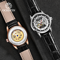 OCHSTIN Relógio Marca de Topo Homens de luxo de Moda de Nova Esqueleto Mecânico Automático Men Watch Pulseira De Couro À Prova D' Água Relógios Luminosos