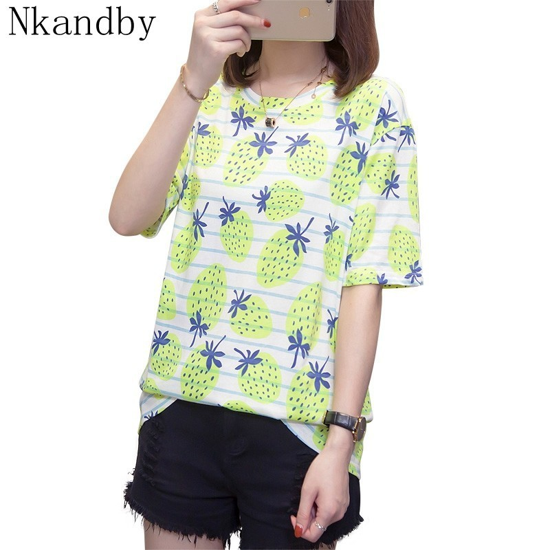 Plus Size Striped T Shirt Women Tops And Tees Summer Cotton Short Sleeve Mujer Tshirts Oversize Lady T-shirts Strawberry Print