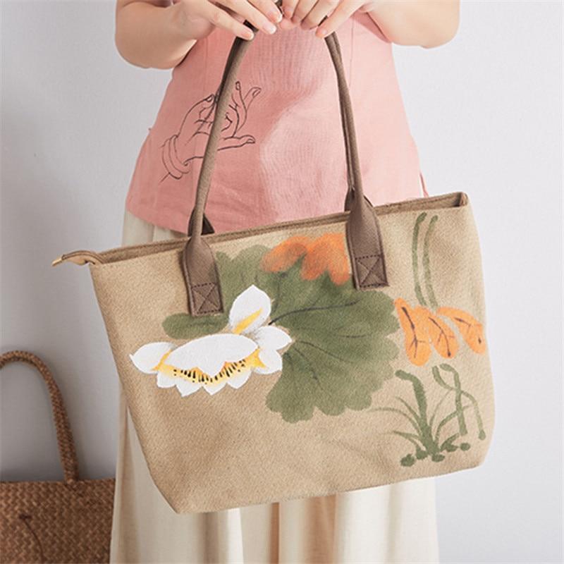 Women's Lotus Print Linen Shoulder Bag 1